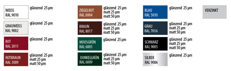 Farbvarianten RAL