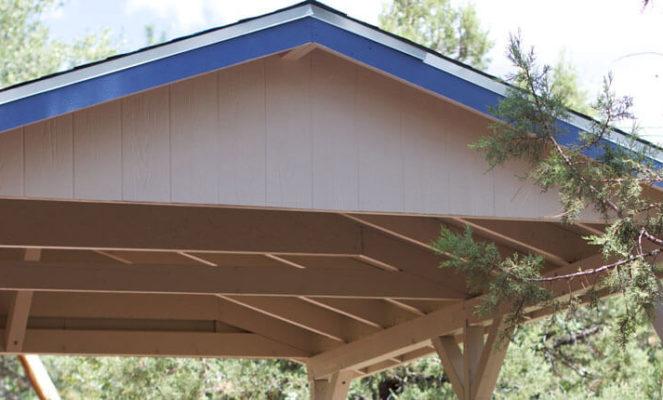 Carport Dach mit Trapezblech & Pfannenprofilen decken